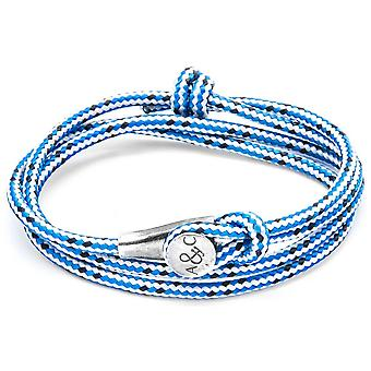 Anchor and Crew Dundee Silver and Rope Bracelet - Blue Dash