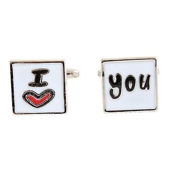 Knightsbridge kaulavaatteita rakastan sinua kalvosinnapit - valkoinen/punainen/hopea