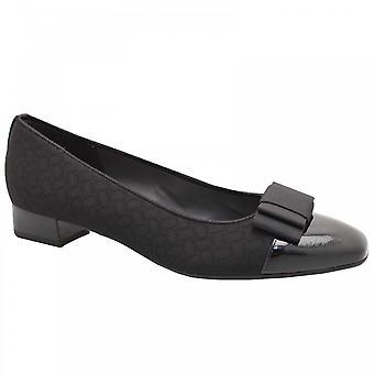 Peter Kaiser Nancie Black Low Heel Bow Court Shoe