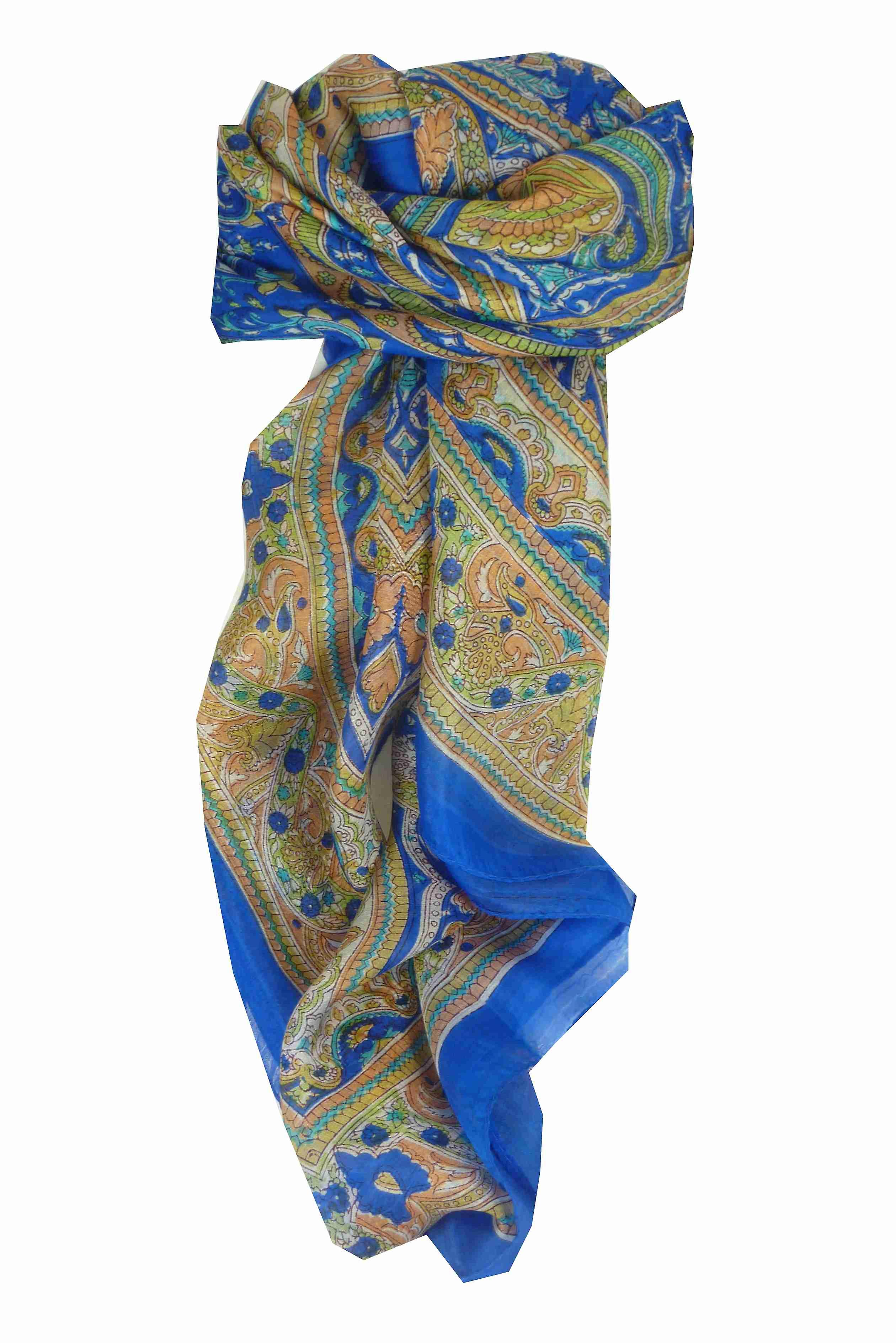 Mulberry Silk Traditional Square Scarf Gandak Blue by Pashmina & Silk