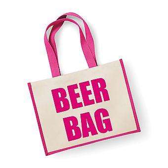 Saco de juta rosa grande saco de cerveja