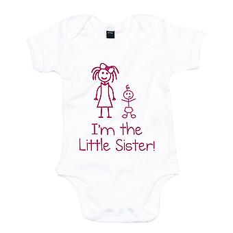 I'm The Little Sister White with Pink Baby Grow