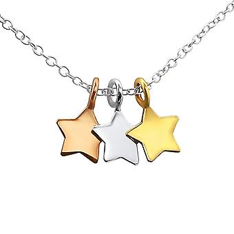 Stars - 925 Sterling Silver Plain Necklaces - W17042x