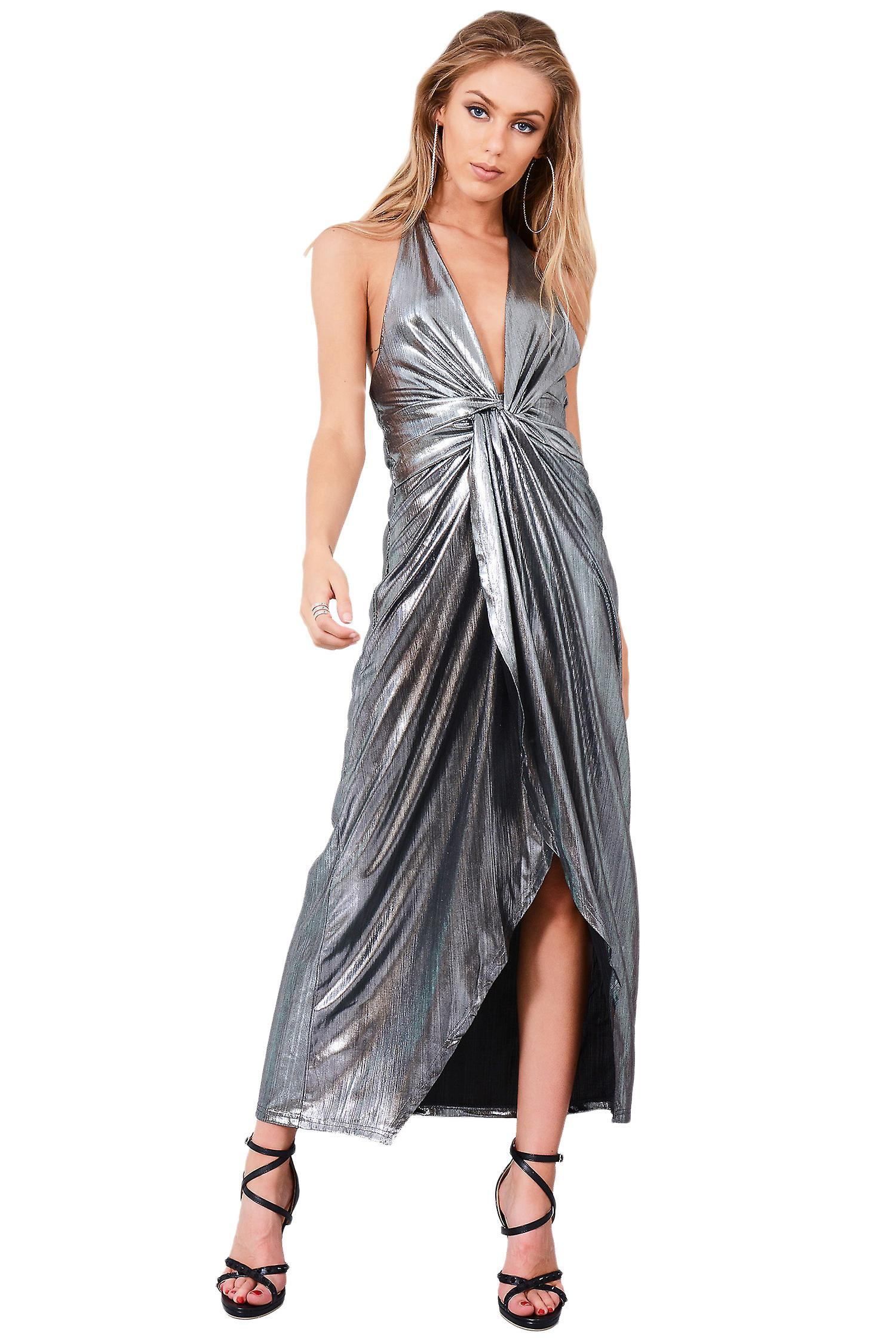 LMS Silver Metallic Halter Neck Maxi Dress With Twisted Knot Front