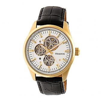 Heritor Stanley automático relógio de couro-banda semi esqueleto - ouro/prata