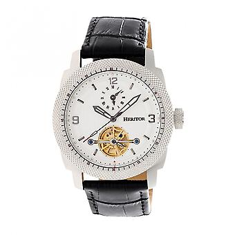 Heritor Automatic Helmsley Semi-Skeleton Leather-Band Watch - Silver/White