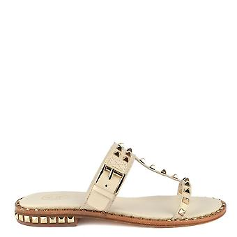 Ash PRINCE Sandals Ivory Leather & Gold Studs