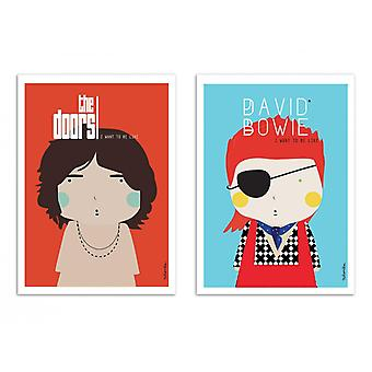 2 Art-Posters - Duo Bowie and Morrison - Ninasilla