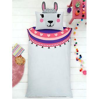 Llama jednoduchý Duvet kryt a tvarovaný Pillowcase sada