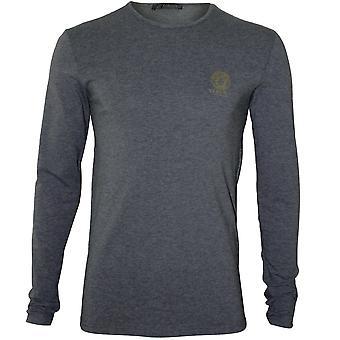 Versace legendaarinen Crew-Neck Pitkähihaiset T-paita, harmaameleerattu