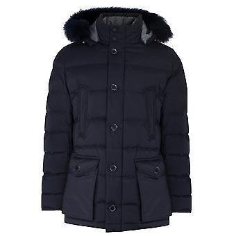 CC Collection Corneliani Navy Blue Down Filled Parka Jacket
