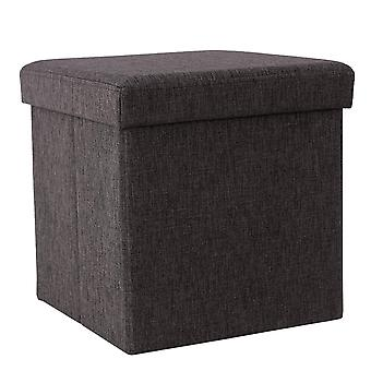 Linen bench/ pouf with storage space - grey or brown
