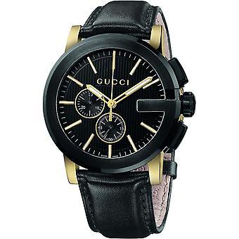 Gucci Ya101203 G-chrono Black Dial Black Leather Men's Watch