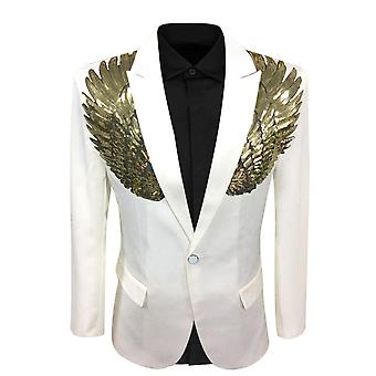 Allthemen mannen Tuxedo blazer Sequin vleugels slim fit Business Casual Suit jas