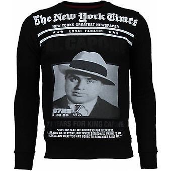 Felpa Al Capone-Rhinestone-Nero