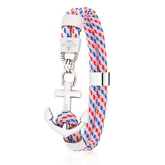 Schipper anker armband surfer band maritieme armband roestvrijstaal wit/zilver 8080