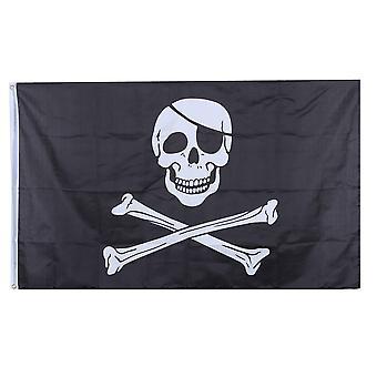 Duży czarny pirat flagę Jolly Roger czaszki i kości 90x150cm z pierścieniami wisi transparent