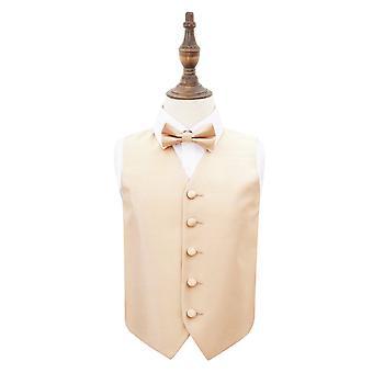 Champagne Solid sjekk bryllup vest & tversoversløyfe sett for gutter