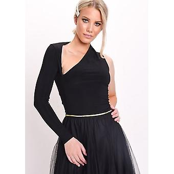 Slit one Sleeve Slinky Body czarny