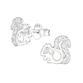 Squirrel - 925 Sterling Silver Cubic Zirconia Ear Studs - W22481x