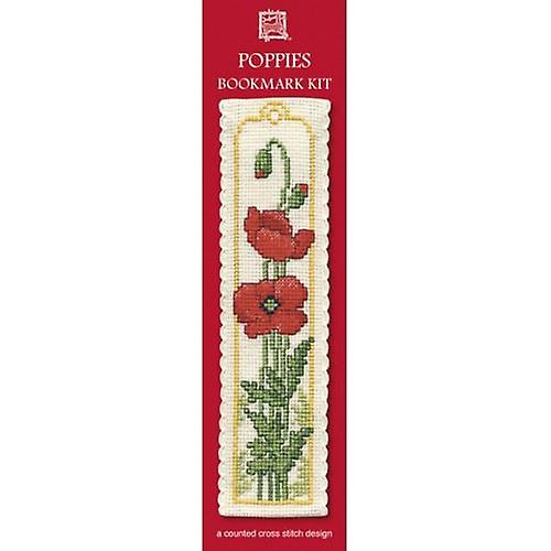 Textile Heritage Counted Cross Stitch Bookmark - Poppies