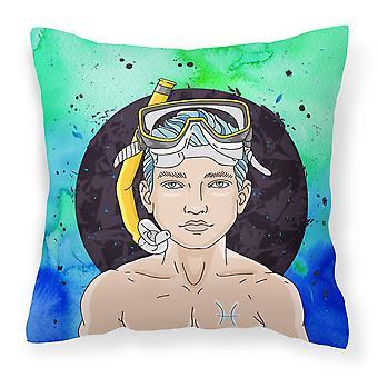 Carolines Treasures  BB7316PW1818 Pisces Zodiac Sign Fabric Decorative Pillow