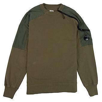 CP bedrijf nylon mix arm lens zip Sweatshirt Olive 672