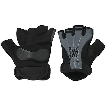 Empire Fingerless Elastic Cuff Paintball Gloves - S/M - Black/Gray