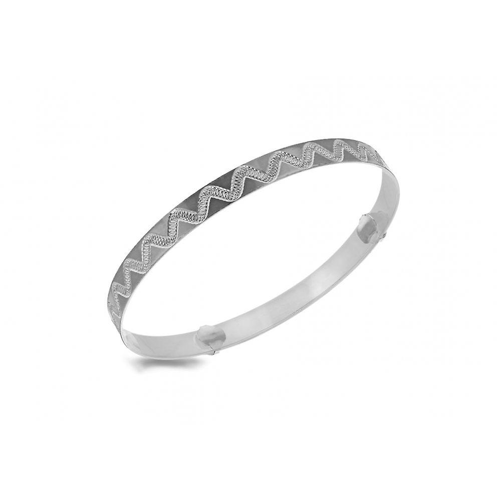 Eternity Sterling Silver Ladies Diamond Cut Waves Expanding Bangle