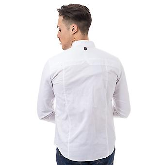 Mens Duck And Cover Birch Cotton Shirt In White- Long Sleeve- Button Down