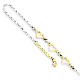 14k Two Tone Polished Spring Ring Gold Oval Link With Sparkle Cut Beads and Heart W/1inch Ext Anklet 9 Inch Jewelry Gift