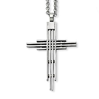 Stainless Steel Polished Fancy Lobster Closure Brushed Religious Faith Cross Pendant 24inch Necklace 24 Inch Jewelry Gif