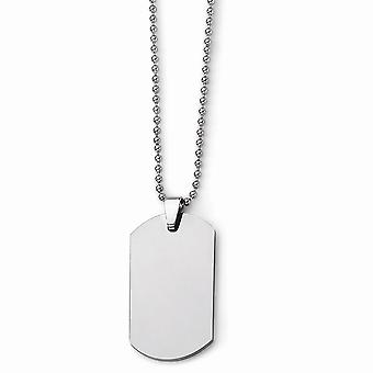 Tungsten Engravable Fancy Lobster Closure Polished Animal Pet Dog Tag Necklace 22 Inch Jewelry Gifts for Women