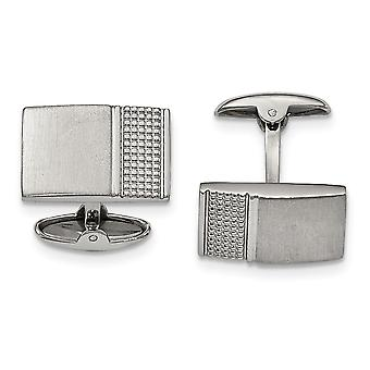 Stainless Steel Brushed Polished Textured Cuff Links Jewelry Gifts for Men