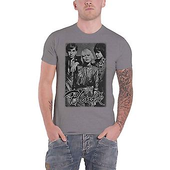 Blondie T Shirt Promo Shot Band Logo Debbie Harry new Official Mens Grey