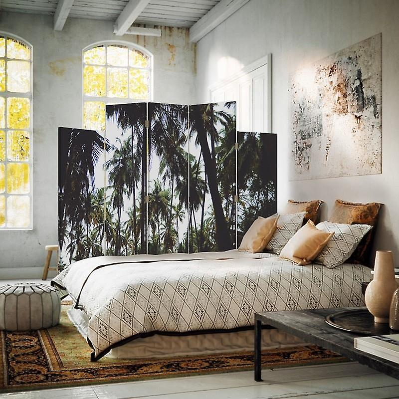 Diviseur de pièce décoratif, 5 panneaux, double-sided, toile rotative de 360 , paume 2