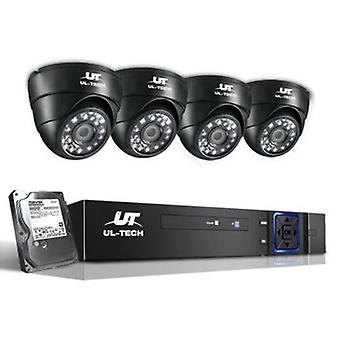 1080P 1 TB Outdoor CCTV Security Camera (4 Pcs) - Black