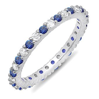 Dazzlingrock Collection 10K Blue Sapphire & White Diamond Ladies Eternity Anniversary Wedding Band, White Gold