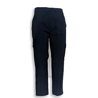 Susan Graver Frauen's Hose Wochenende Premium Stretch Crop Navy Blau A351024