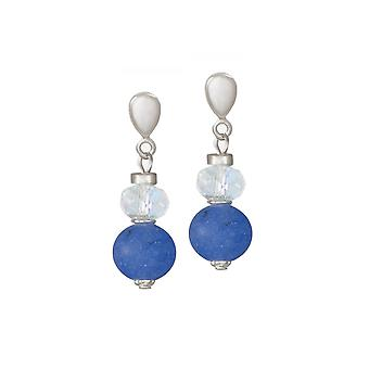 Eternal Collection Rhapsody Blue Jade And Crystal Drop Clip On Earrings