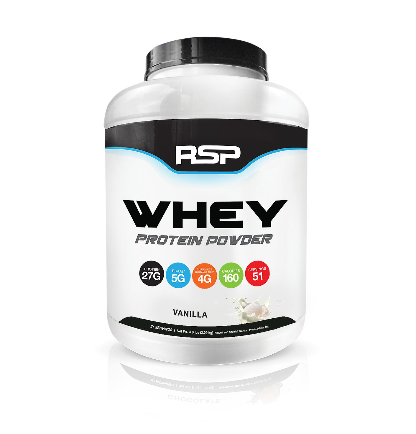Rsp whey protein powder - 27g premium whey protein shake with bcaas and glutamine, post workout recovery protein supplement, 51 servings