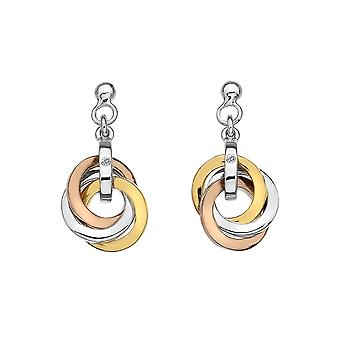 Hot Diamonds Trio Earrings Rose And Yellow Gold Plated Accents DE389