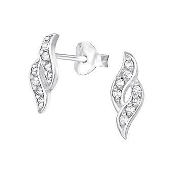 Spiral - 925 Sterling Silver Cubic Zirconia Ear Studs - W21545X