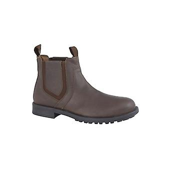 Roamers Richie Mens Leather Chelsea Boots Dark Brown