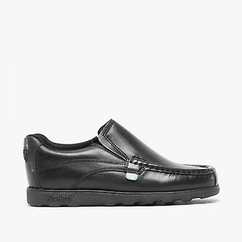 Kickers Fragma15 Slip Youth Boys Leather Shoes Black