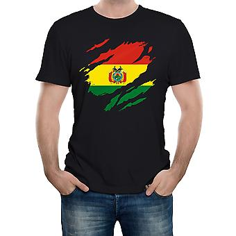Reality glitch torn bolivia flag mens t-shirt