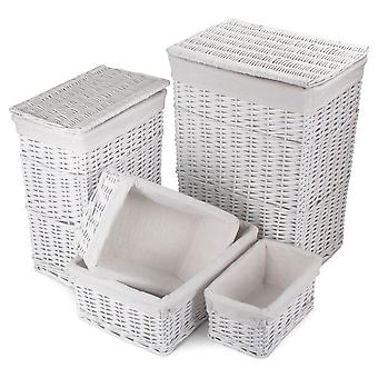 White Wicker Bathroom Linen Set