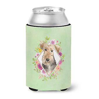 Airedale Terrier Green Flowers Can or Bottle Hugger