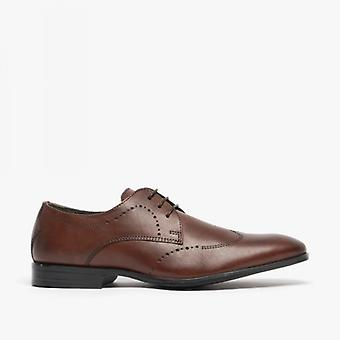 Silver Street London Mortimer Mens Leather Chisel Toe Semi Brogues Chocolate Brown