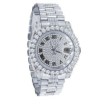 Mega Bling COMPLETO ICED OUT Zirconia Reloj de Acero Inoxidable - plata